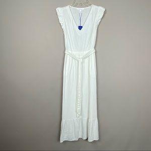 White linen cap sleeve midi dress Sz S